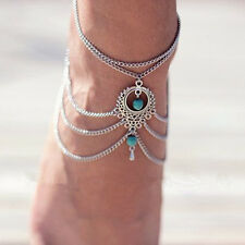 MULTI LAYERS BEADS ANKLET TASSELS CHAIN BAREFOOT ANKLE BRACELET FOOT JEWELRY