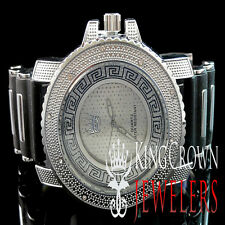 ICED OUT NEW MEN'S 14K WHITE GOLD FINISH JO'S KING LAB DIAMOND BULLET BAND WATCH