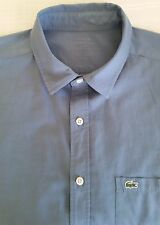 LACOSTE Garment Dyed Cotton Long Sleeve Blue Casual Shirt sz 40 EUR