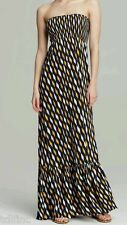*NEW Michael Kors Strapless Printed Maxi Dress Vintage Yellow Navy size XS XSmal