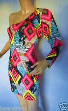 NEW LADIES MISS BLUSH ONE SLEEVED MULTI COLOURED TUNIC/DRESS SIZE 18
