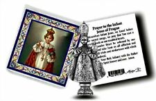 Infant of Prague Metal  Pocket Statue w/ Prayer Card Jesus NEW! STOCKING STUFFER