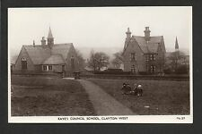Clayton west - Kaye's Council School - real photographic postcard