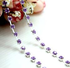 1yd purple crystal rhinestone 4mm close chain trim DIY craft Decoration L1388