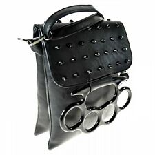VIXXSIN SOCIAL BAG BLACK KNUCKLE DUSTER GOTHIC LADIES POIZEN STUDS