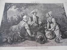 Gravure 1876 - Les Commères de Briquebec d'après Beyle