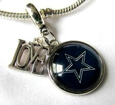 DALLAS COWBOYS Love Sport Charm NFL Football Team Logo European Dangl FREE POUCH