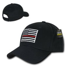 Black USA American Flag Thin Red Line Tactical Operator Cotton Baseball Cap Hat
