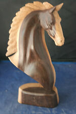 """Beautiful Hand Carved Horse Head By A Master Carver In Suar Wood 12""""x 8"""" In. W."""