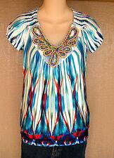 Heart Soul XS Blue Orange Turquoise White Butterfly Beaded Shirt Top