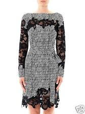 new Diane von Furstenberg ERNESTINA Lace-Trim Long-Sleeve Dress in TWEED DASH 6