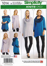 Stretch Knit Tunic Hood Cowl Neck Shoulder Wear Many Ways Sewing Pattern XXS-XXL