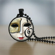 Mask with notes Cabochon Black Vintage Glass Chain Pendant Necklace