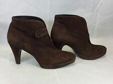 Zara Ladies Brown Suede 40s Vintage Platform High Heel Ankle Boots Size 6/39