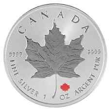 2016 1 Oz Ounce Canadian Silver Maple Leaf Coin .9999 Maple Ruthenium Gilded