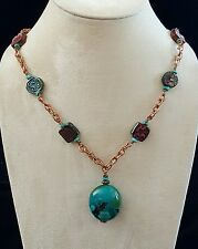 Necklace Turquoise Nugget Raku Beads Copper Chain Turquoise Accents Handmade USA