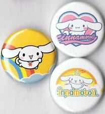 set of 3 cinnamoroll pins buttons badges sanrio