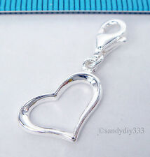 1x STERLING SILVER HEART CHARM PENDANT EUROPEAN LOBSTER CLIP ON CHARM #1796