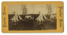 """""""A Picturesque Camp"""" - Vintage Stereoview Photo - Early 20th Century"""