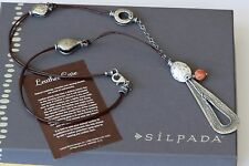 Silpada Sponge Coral Asymmetrical Brown Leather Stering Silver Necklace N1950