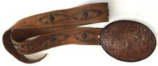 Ralph Lauren Collection Brown Tooled Concho Leather Large Buckle Belt Size Med