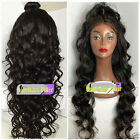 Natural Wavy  Brazilian Remy Human Hair Full /Front Lace Wig Baby Hair