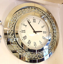 Modern Floating Crystals Bevelled Mirror Glass Round Wall Clock 50cm Silver C201