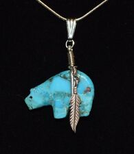 Bear Necklace Turquoise Hand Carved Sterling Native American Navajo Artist Howe