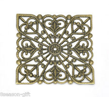 50 Bronze Tone Square Filigree Wraps Connectors 40mm
