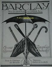 PUBLICITE DE 1920 BARCLAY OMBRELLE CANNE PARAPLUIE FRENCH ORIGINAL HAT AD