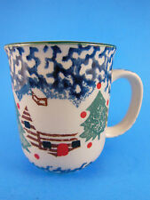Cabin in the Snow Stoneware Christmas  Cup Mug Stoney Hill Up Country EUC