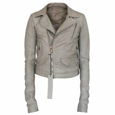 RICK OWENS $2,350 leather jacket slim fitted Stooges Ice gray biker coat 40 NEW