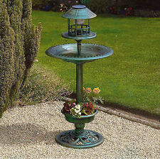 Green Bird Hotel Feeder & Bath With Solar Light Garden Ornamental Table Station