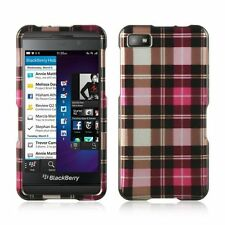 Rubberized Hard Snap-in Case Cover For BlackBerry Z10, Pink/Brown