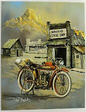 ANTIQUE INDIAN MOTORCYCLE ART METAL SIGN Ted Blaylock Signed NEW Bike Chopper