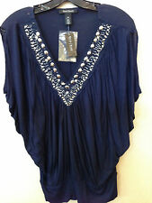 NWT WHITE HOUSE BLACK MARKET SMALL NAVY EMBELLISHED NECK BLOUSON TOP SHIRT  $88