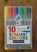 10 STAEDTLER TRIPLUS FINELINER BRILLIANT COLOURS 0.3mm