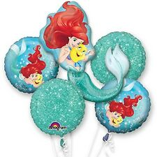 5 Piece Little Mermaid Ariel Birthday Balloon Bouquet Party Decorating Supplies