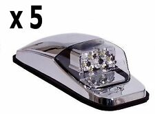 CHROME LED UPPER CAB LIGHT - (AMBER/CLEAR) 5 each - PETERBILT FREIGHTLINER KW