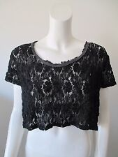 Free People 80's Style Black Lace Loose Fit See Through Cropped Top S/P