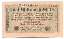 Germany Weimar Republic Reichsbanknote 5 Millionen Mark 20.8. 1923 VF #104b