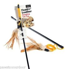 Cat kitten feather toy dangler sharples'n'grant feath'r' leather pet teaser