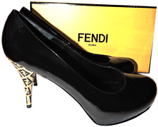 FENDI Black Patent Leather Pump Hidden Platform Signature Heel 40- 9