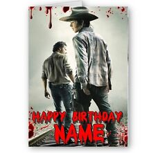Personalised Name Walking Dead, Rick & Carl A5 Happy Birthday Card