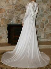 XS / S SWEEPING LONG SLEEVES & TRAIN VINTAGE SLIP BRIDAL DRESS GOWN
