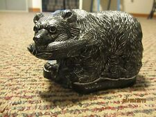VANSTONE HANDMADE SOAPSTONE BEAR WITH FISH SCULPTURE MADE IN CANADA