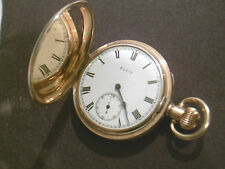ANTIQUE ELGIN 10K GOLD PLATED POCKET WATCH FULL HUNTER