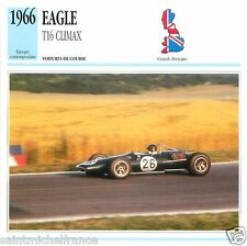 EAGLE T16 CLIMAX 1966 CAR VOITURE GREAT BRITAIN GRANDE BRETAGNE CARTE CARD FICHE
