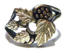 """LARGER STYLE """"WM"""" BLACK HILLS STERLING SILVER LEAF & GRAPE RING BAND SIZE 8.75"""