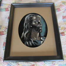 Vintage Large Beautiful Religious Jesus Picture on Velvet with Wood Frame